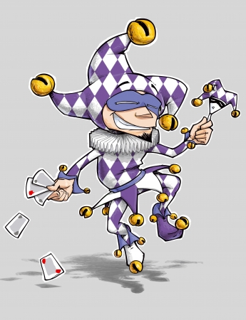 smirk: Cartoon illustration of a dancing jester in purple and white diamonds Stock Photo