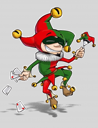 Cartoon illustration of a dancing jester in green and red illustration