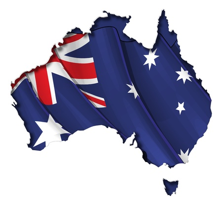 australia flag: Australian map cut-out, highly detailed on the edge