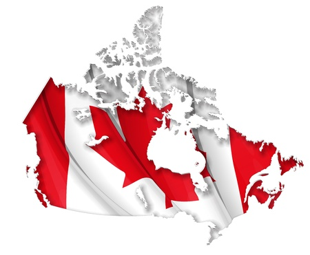 light source: Canadian map cut-out, highly detailed on the edges shading, with a waving flags underneath. The Settle thickness on the cut-out border follows the inner shadows light source. Stock Photo