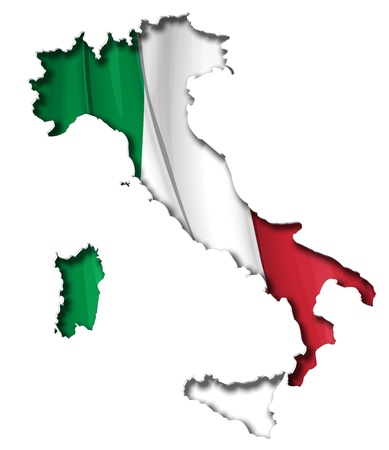 bitmaps: Italian map cut-out, highly detailed on the edges shading, with a waving flags underneath. The Settle thickness on the cut-out border follows the inner shadows light source.