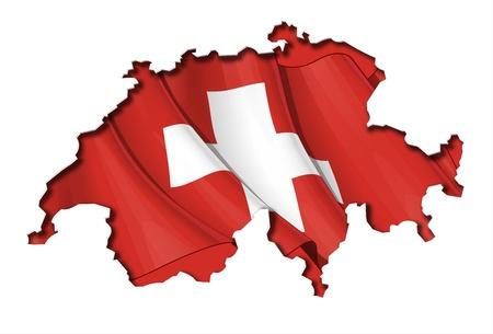 alpes suizos: Mapa de Suiza recorte muy detallada sobre la sombra de la orilla, con banderas ondeando debajo. El Settle espesor en la frontera de desconexi�n sigue fuente de luz de la sombra interior.