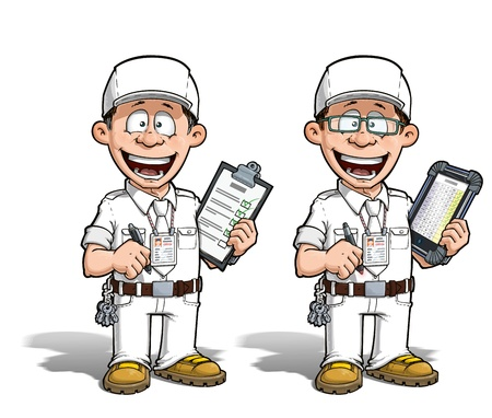 Cartoon illustration of a happy supervisor filling a check list. Two versions: 1) on with a pen on a traditional pad and 2) on a tablet more hip with glasses. The uniform colors is up to you... illustration