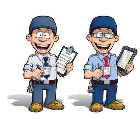 warden: Cartoon illustration of a happy supervisor filling a check list. Two versions: 1) on with a pen on a traditional pad and 2) on a tablet more hip with glasses.