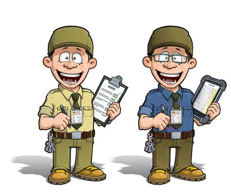 Cartoon illustration of a happy supervisor filling a check list. Two versions: 1) on with a pen on a traditional pad and 2) on a tablet more hip with glasses. illustration