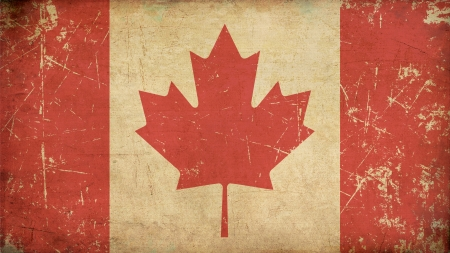 Illustration of an rusty, grunge, aged Canadian flag