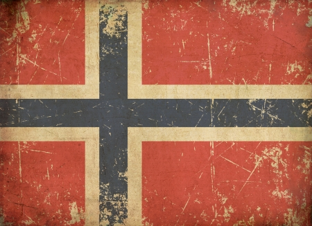 Illustration of an rusty, grunge, aged Norwegian flag