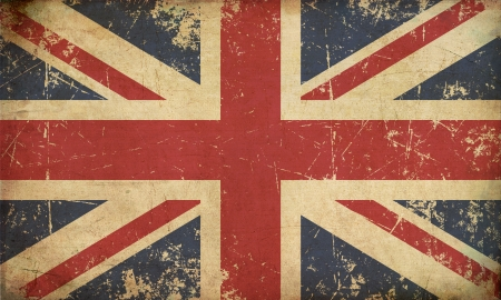 Illustration of an rusty, grunge, aged UK flag