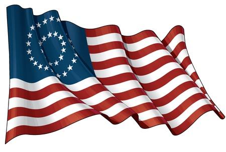 civil war: Illustration of a waving American civil war Union  North  flag against white background