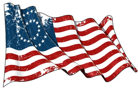 civil war: Illustration of a scrached waving American civil war Union  North  flag against white background  Stock Photo