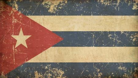 Illustration of an rusty, grunge, aged Cuban flag  版權商用圖片