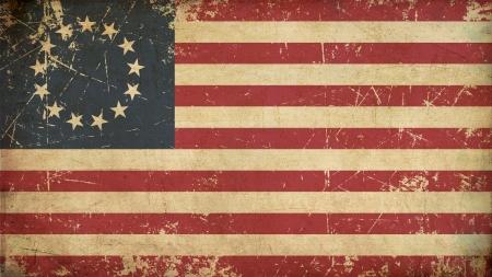 Illustratie van een roestige, grunge, verouderd Amerikaanse vlag van Betsy Ross