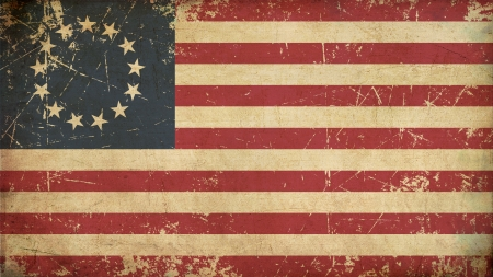 torned: Illustration of an rusty, grunge, aged American Betsy Ross flag  Stock Photo