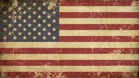 Illustration of an rusty, grunge, aged American flag