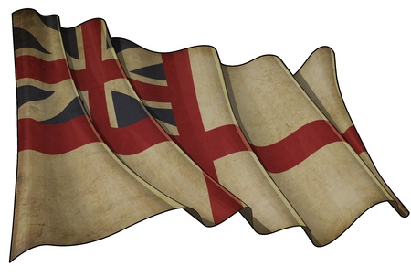 Illustration of an aged waving British Navy Flag of the period 1606-1801 also named and  The King s Colours , against white background  illustration