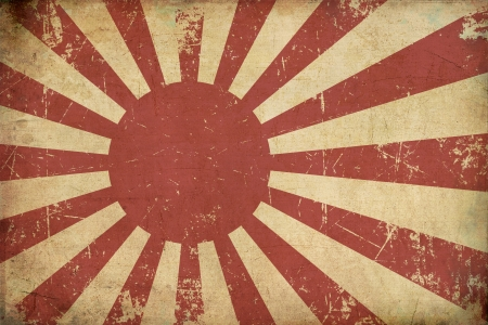Illustration of an rusty, grunge, aged  Japanese Empireal Navy flag  illustration