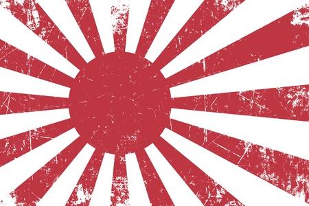 Illustratie van een roestige, grunge, Japanse vlag Empireal Navy Stockfoto