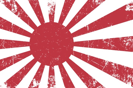 Illustration of an rusty, grunge, Japanese Empireal Navy flag  Фото со стока