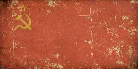 cold war: Illustration of an rusty, grunge, aged Soviet Union flag on the official aspect retio