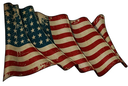 Illustration of an aged, waving US 48 star flag of the period 1912-1959  This design was used by the US in both World Wars and the Korean war