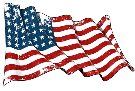 Illustration of a waving textured US 48 star flag of the period 1912-1959  This design was used by the US in both World Wars and the Korean war