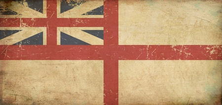 Illustration of an rusty, grunge, aged British Naval Flag during the period 1606–1801  The King illustration