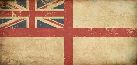Illustration of an rusty, grunge, aged British Navy flag on its official aspect retio  illustration