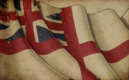 naval: Illustration of a rusty British Naval  flag of the period 1606-1801 printed on old paper  Stock Photo