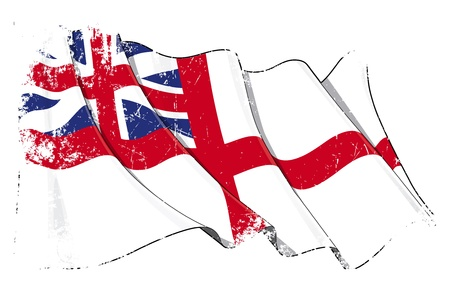 king s: Grunge illustration of a Waving British Naval Ensign of the period between 1606-1801  Stock Photo