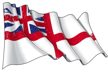 king s: Illustration of a Waving damaged - scratched British Naval Ensign of the period between 1606-1801