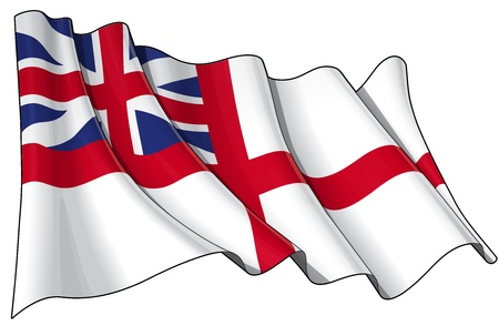king s: Illustration of a Waving British Naval Ensign of the period between 1606-1801  Stock Photo