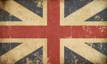 Illustration of an rusty, grunge, aged Union Jack of the period 1606-1801 otherwise named and  The King illustration