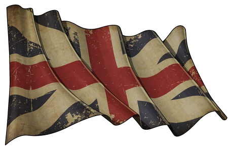 Illustration of an aged waving Union Jack of the period 1606-1801 otherwise named and  The King illustration