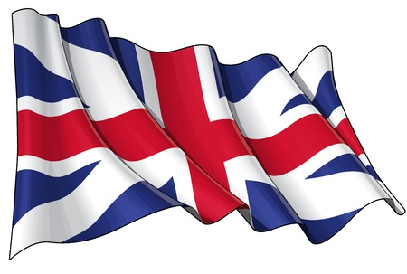 british isles: Illustration of a waving Union Jack of the period 1606-1801 otherwise named and  The King Stock Photo