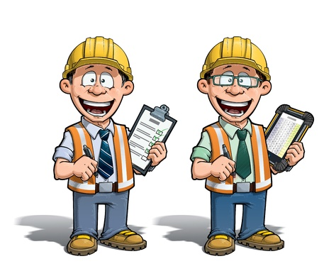 Cartoon illustration of a construction worker supervisor checking a project list    Stockfoto