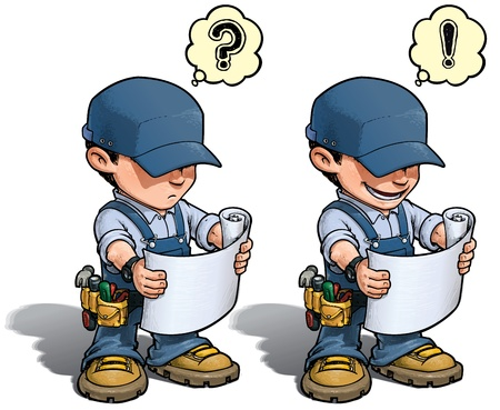 mending: Cartoon illustration of a handyman reading a blueprint