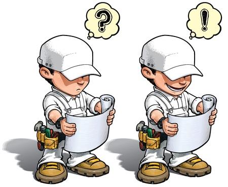 do it yourself: Cartoon illustration of a handyman reading a blueprint   Stock Photo