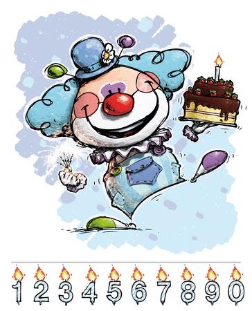 Cartoon Artistic illustration of a Clown Carrying a Boy Vector