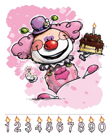 it s a girl: Cartoon Artistic illustration of a Clown Carrying a Girl