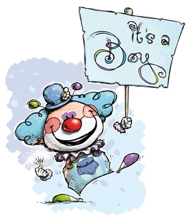 it s a boy: Cartoon Artistic illustration of a Clown Holding an It