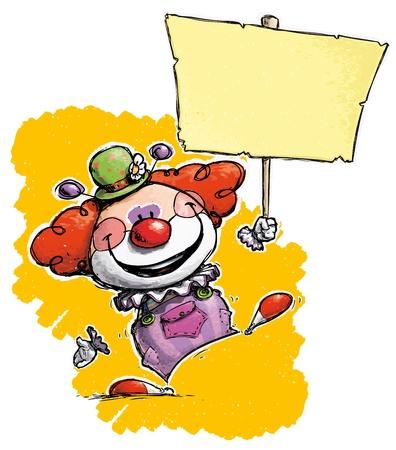 plackard: Cartoon Artistic illustration of a Clown Hoding Plackard