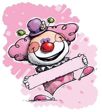 nariz roja: Cartoon Ilustración artística de un payaso que sostiene una etiqueta - Girl Colores