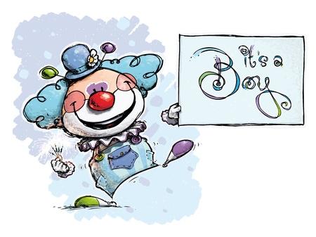 Cartoon Artistic illustration of a Clown Holding an It