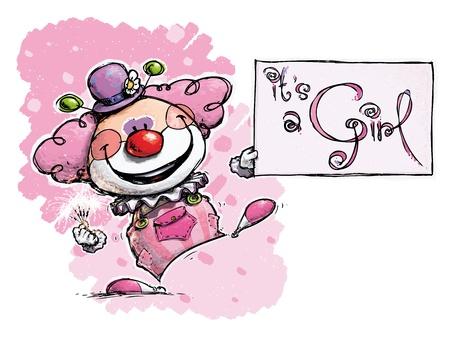 it s a girl: Cartoon Artistic illustration of a Clown Holding an It