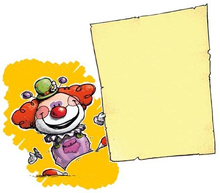 clown nose: Cartoon Artistic illustration of a Clown Holding Invitation Announcement