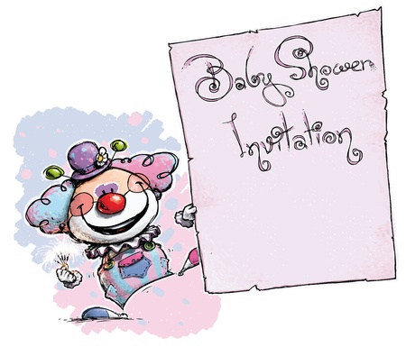 it s a girl: Cartoon Artistic illustration of a Clown Holding a Baby Shower Invitation