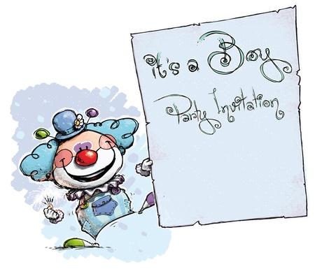 it s a boy: Cartoon Artistic illustration of a Clown  Illustration