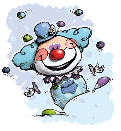 nariz roja: Cartoon Ilustración artística de un Juggling Clown