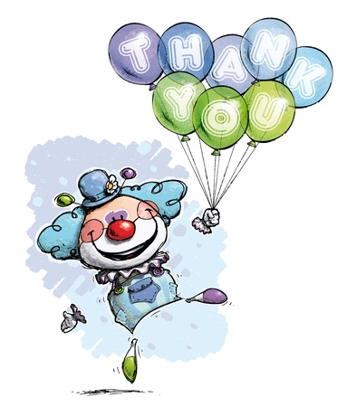 Cartoon Artistic illustration of a Clown with Balloons Saying Thank You