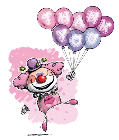 Cartoon Artistic illustration of a Clown with Balloons Saying Thank You  Vector